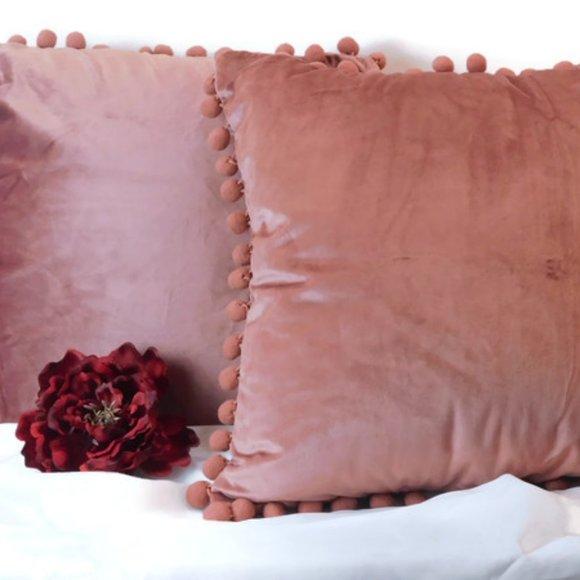 None Other - Velvet Pillow Cover Set Blush Pink NWOT